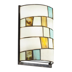 Kichler Lighting - Kichler Lighting Michaela Tiffany Wall Sconce X-44196 - Pops of color accentuate the contemporary style of this Kichler Lighting Tiffany style wall sconce. From the Michaela Collection, it features a beautiful geometric art glass shade and rich Shadow Bronze finish that pulls the look together.