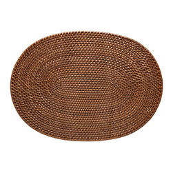 "Kouboo - Oval Rattan Placemat Set of 2, Honey Brown - This hand-woven rattan placemat is done ""Hapao style,"" meaning a tight, intricate weave initially created in the Philippines to ensure durability and beautiful longevity. Finished with a coating of clear lacquer for easy clean-up, this rectangular rattan placement is a beautiful addition to your table for family and guests alike."