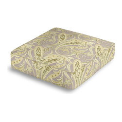 Pale Green Paisley Box Floor Pillow - Extra seating that is so good looking you won't want to store it away.  Our Box Floor Pillow is perfect for your next coffee table dinner party, fire place snuggle session, or playroom sleepover.  We love it in this traditional intricate paisley in flax gray & spring green on soft pure linen.