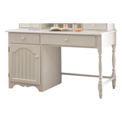 Hillsdale Furniture - Hillsdale Westfield Desk - Inspired by classic Cottage styling, the Westfield youth bedroom collection features a traditional curved headboard, bead board details and lovely sculpted feet. Finished in a perfectly charming white, and complete with a dresser, mirror, nightstand, chest and matching desk, this collection is a refreshing and cheerful addition to your child's room.