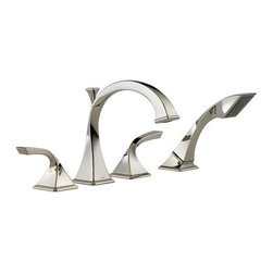 """Brizo - Brizo T67430-PN Brilliance Polished Nickel Virage Virage Roman Tub - Virage Double Handle Roman Tub Filler Faucet Trim with Personal HandshowerElegantly twisted forms create a hand crafted work of art for the bath. Slip-on spout with metal handles. 20 gpm @ 60psi, 76L/min @ 413kPa.Trim Features:Roman tub trim.10"""" – 16"""" centers.Valve mechanism shall be of the rotating cylinder type with 180- rotation.Ceramic disc valving.Hot and cold stem units shall be interchangeable.All operating parts shall be replaceable from the top.Adjustable rough-in for thick and thin deck installations.Trim Specifications:ADA Compliant: YesOverall Height: 9.3125""""Spout Height: 5.6875""""Spout Reach: 8.8438""""Faucet Centers: 10"""" - 16""""Faucet Holes: 3Flow Rate (GPM): 18.5Product Weight: 6.800 lbs.Installation Type: Deck MountedNumber Of Handles: 2Handle Style: Metal LeverHandles Included: YesHandshower Included: YesHose Included: YesHose Length: 59""""Valve Included: YesValve Type: Ceramic DiscBrizo TechnologiesBrilliance Finishes: Many Brizo products are made with Brilliance  finishes, which resist abrasions and discolorations better than traditional brass or even chrome."""