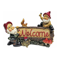 EttansPalace - Garden Gnomes Welcome Statue - When you could use a little gnome welcome at your entryway, vegetable plot or garden flowerbed, our welcome gnomes statue is at the ready! Sporting pointy red elf hats and trusty gnome tools, this garden elf welcome statue greets their squirrel friend with the same warm welcome they'll extend to all visitors to your home or garden. Imaginatively sculpted, our quality designer resin garden gnomes statue is hand-painted one piece at a time.