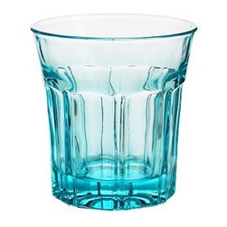 """Colorful Cafe Glassware Tumbler, Set of 6, Turqoise - Brighten up everyday meals with our cheerful tumblers and goblets modeled after cafe glassware. They're available in a rainbow of colors and have a weighty feel. Goblet: 3.75"""" diameter, 6.75"""" high; 8 fluid ounces Tumbler: 4"""" diameter, 4"""" high; 8 fluid ounces Made of molded tinted glass. Set of 6. Dishwasher-safe."""