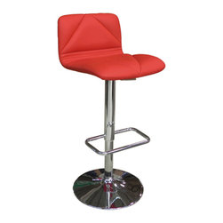 """Whiteline - Vivo Bar Stool in Red - Vivo Bar Stool; Red leatherette stool designed for comfort; Adjustable height footrest and chrome base.; Color: Red; Primary Material: Leatherette/Chrome; Assembly not required; Weight: 19 lbs; Dimensions: 17""""L x 20""""W x 31/41""""H"""