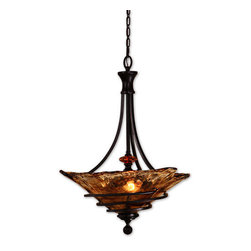 Uttermost - Uttermost 21904 Oil Rubbed Bronze Vitalia Transitional 3 Light Bowl - Uttermost 21904 Carolyn Kinder Vitalia 3 Lt PendantHand wrought, oil rubbed bronze metal curls around heavy, hand made glass. Its amber tonalities are key in this exciting mix of materials.Features:Product Height: 29.625 inchesProduct Width: 22.25 inchesProduct depth: 0 inches3 light fixture, which uses 3 medium base bulb(s)Designed by: Carolyn KinderFixture features a shade with the measurements (22.15 x 7.25)