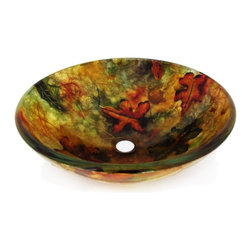 "Legion Furniture - Multi Colored Round Glass Vessel Sink 214 - This multi toned glass bowl is made of high quality tempered glass. Sink features handpainted red, burgundy, orange and gold tones with a maple leaf pattern.  Material: Double Layer Tempered Glass; Color: Sink Features Handpainted Red, Burgundy, Orange and Gold Tones with a Maple Leaf Pattern; Dimensions: 16.5"" X 5.5""; Thickness: 0.5""; Drain Hole: 1.75""; Weight: 15 lbs; Installation: Top Mount; Included: Chrome Pop-Up Drain and Mounting Ring; Not Included: Faucet."
