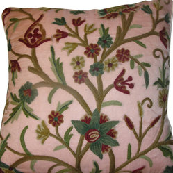 Crewel Pillow Tree of Life Rose Pink Silk Organza (20x20)