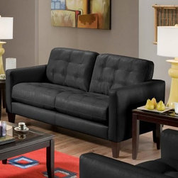 Chelsea Home Stafford Upholstered Loveseat - Complete your contemporary space with this Chelsea Home Stafford Upholstered Loveseat. With matte black bonded leather upholstery, it can be a focal point or a complementary piece. Button-tufted cushions add interest and elevate the style. Sleek espresso legs complete the dynamic. Chelsea Home ensures strong, durable furniture with nailed, stapled, and corner-blocked frames.About Chelsea Home FurnitureProviding home elegance in upholstery products such as recliners, stationary upholstery, leather, and accent furniture including chairs, chaises, and benches is the most important part of Chelsea Home Furniture's operations. Bringing high quality, classic and traditional designs that remain fresh for generations to customers' homes is no burden, but a love for hospitality and home beauty. The majority of Chelsea Home Furniture's products are made in the USA, while all are sought after throughout the industry and will remain a staple in home furnishings.