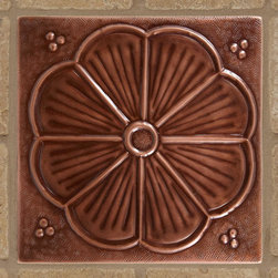 """8"""" Solid Copper Wall Tile with Stamped Flower Design - Antique Copper Patina - Create a decorative focal point over a sink or stove with the Solid Copper Wall Tile with Stamped Flower Design."""