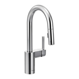"Moen - Moen 5965 Chrome Align Single Handle Bar Faucet with Reflex Pullout - Product Features:Faucet body constructed of metal to ensure durability and dependabilityCovered under Moen s limited lifetime faucet warrantyFinishes resist corrosion and tarnishing through everyday use - finish covered under lifetime warrantyThe Align Collection brings a refreshed modern look to your homeMoen sets the standard for exceptional beauty and innovative reliable designSingle handle operation for ease of usePullout spray faucet head with 68"" hose enhances faucets versatilitySpout swivels 360-degrees providing greater access to more areas of the sinkHigh-arch gooseneck spout design provides optimal room under the faucet for any size taskADA compliantLow lead compliant - faucet meets federal and state regulations for lead contentWaterSense Certified product - using at least 30% less water than standard 2.2 GPM faucets, while still meeting strict performance guide linesProduct Technologies / Benefits:Reflex: A technological innovation created based on input from actual faucet users, Reflex is made to work the way you do. Featuring exceptional range of motion, the spray wand on Reflex faucets swivels to optimize maneuverable range. Only pulldown faucets with the Reflex system will retract back to the docked position from any distance without assistance. Compared to other pulldown designs Reflex will also make the spray head up to 40% easier to unlatch.Duralast Cartridge: An exciting new proprietary cartridge design that offers a smooth feel and reliable operation of a new faucet from the first use to the last use. This new cartridge combines innovative engineering and the highest quality materials. It surpasses conventional durability standards to withstand the toughest conditions, including hard water.WaterSense/Eco-Performance:"