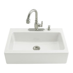 KOHLER - KOHLER K-6546-4-96 Dickinson Apron-Front, Tile-In Kitchen Sink with Four-Hole Fa - KOHLER K-6546-4-96 Dickinson Apron-Front, Tile-In Kitchen Sink with Four-Hole Faucet Drilling in BiscuitBring distinctive KOHLER styling to a standard sink space with the Dickinson apron-front kitchen sink. Constructed of durable KOHLER(R) Cast Iron, this tile-in model offers a large basin and features a four-hole faucet drilling.Please see our Delivery Notes for Freight Shipments for products that are oversized and/or are too heavy to ship UPS ground. KOHLER K-6546-4-96 Dickinson Apron-Front, Tile-In Kitchen Sink with Four-Hole Faucet Drilling in Biscuit, Features:• A single basin, apron-front sink that fills the space of a standard sink