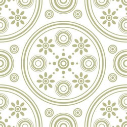 Odhams Press - Retro Daisies Sage RETile Decal, White Background - RETile decals can be used to accent or transform your existing ceramic, stone or glass tiles. They are easy to apply and can be removed in the future without leaving a sticky residue.