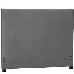 """Raleigh Square Headboard, Full, everydaysuede(TM) Metal Gray - Simple lines and softly rounded corners distinguish the profile of our Raleigh Square Bed & Headboard, crafted by our own master upholsterers in the heart of North Carolina. Crafted with a kiln-dried hardwood frame. Headboard, foot rail and side rails are thickly padded and tightly upholstered with your choice of fabric. Exposed block feet have a hand-applied espresso finish Headboard also available separately. The headboard-only option is guaranteed to fit with our PB metal bedframe using the headboard hardware. This item can also be customized with your choice of over {{link path='pages/popups/fab_leather_popup.html' class='popup' width='720' height='800'}}80 custom fabrics and colors{{/link}}. For details and pricing on custom fabrics, please call us at 1.800.840.3658 or click Live Help. Crafted in the USA. Full: 57.5"""" wide x 83.5"""" long x 53.5"""" high Queen: 64.5"""" wide x 88.5"""" long x 53.5"""" high King: 80.5"""" wide x 88.5"""" long x 53.5"""" high Cal. King: 74.5"""" wide x 92.5"""" long x 53.5"""" high Full: 57.5"""" wide x 53.5"""" high x 4.5"""" deep Queen: 64.5"""" wide x 53.5"""" high x 4.5"""" deep King: 80.5"""" wide x 53.5"""" high x 4.5"""" deep Cal. King: 74.5"""" wide x 53.5"""" high x 4.5"""" deep"""