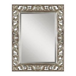 Uttermost - Uttermost Vitaliano Distressed Silver Mirror 09511 - This decorative mirror features a heavily distressed silver leaf finish with rustic undertones and black details. Frame has an open design that allows wall color to show thru. May be hung either horizontal or vertical.