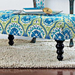 Blue Ottoman - A funky take on traditional, vivid lime and royal keep this ottoman from fading into the background. The intricate medallion pattern is created with durable loop pile wool for long lasting good looks. The turned wood legs have a dark espresso finish.