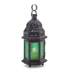 Green Glass Moroccan Candle Holder Hanging Lantern - Metal and emerald green is a perfect combination.
