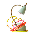 EarthSeaWarrior - Retro Mint Green Gooseneck Vintage Lamp - A fresh take on the classic gooseneck lamp. The vintage mint green shade and base and traditional golden gooseneck contrast playfully with the bright, hand-dyed citrus cloth cord on this unique and whimsical piece of accent lighting for your home.