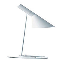 Louis Poulsen - AJ Table Lamp - AJ emits downward directed light.  The angle of the shade can be adjusted to optimize light distribution. The shade is painted white on the inside to ensure soft comfortable light.  Available in blue/green, petroleum, red, sand, yellow/green, black, graphite grey, and white.  It is available in table, floor, and wall versions.  One 60 watt, 120 volt, A19/Medium base lamp required but not included. 8.5 inch width x 22 inch height. cUL listed.