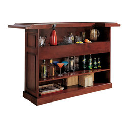 Lexington Bar, English Tudor - No need to travel to England — bring the pub to your house. Mosey on up to this classic English Tudor bar and fix yourself a drink. It's got an ice bucket, dual bottle wells and plenty of storage. Cheers!