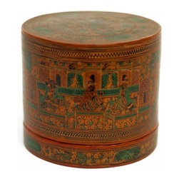Burmese Betel Nut Box - Throughout Asia, it used to be customary for most homes to have special compartmentalized boxes or trays that were used to hold the various materials used to make fresh betel nut quids. When guests would visit, they would be presented with a fully stocked box with all the makings of a tasty betel chew. A typical box would have separate compartments for sliced betel nuts, fresh betel leaf and various spices such as cardamom, fennel, saffron and lime powder.