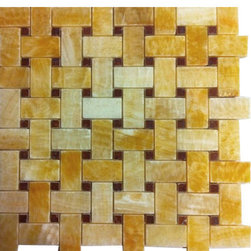 """Marbleville - Honey Onyx 1""""x2"""" Basketweave Polished Red Dot Mesh-Mounted Mosaic  in 12""""x12"""", Y - Premium Grade Honey Onyx 1"""" x 2"""" Basketweave Pattern Polished Finish with Red Dot Insert Mesh-Mounted Onyx Mosaic is a splendid Tile to add to your decor. Its aesthetically pleasing look can add great value to any ambience. This Mosaic Tile is made from selected natural stone material. The tile is manufactured to high standard, each tile is hand selected to ensure quality. It is perfect for any interior projects such as kitchen backsplash, bathroom flooring, shower surround, dining room, entryway, corridor, balcony, spa, pool, etc."""