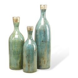 Interlude - Averil Bottle Vases - Ocean - Set of three vases in ceramic with silver accents on teal reactive glaze.