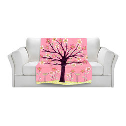 DiaNoche Designs - Throw Blanket Fleece - Sascalia Pink Bird Tree - Original Artwork printed to an ultra soft fleece Blanket for a unique look and feel of your living room couch or bedroom space.  DiaNoche Designs uses images from artists all over the world to create Illuminated art, Canvas Art, Sheets, Pillows, Duvets, Blankets and many other items that you can print to.  Every purchase supports an artist!