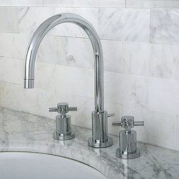 None - Concord Chrome Widespread Bathroom Faucet - Add elegance and shine to your bathroom with this polished chrome faucet by Concord. It features a high-arc design and swivel spout with two handles. This faucet is constructed of high-quality solid brass that will last for years to come.