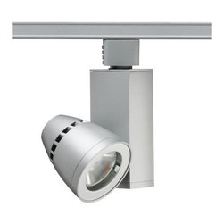 """Juno - Contemporary 19 Watt Conix II LED Track Light By Juno - Update your home's track lighting system with this contemporary LED track head. The elegant Conix II LED features durable all metal construction finished in lustrous silver finish. This fully dimmable design looks great and is cost-effective too. The lamp comes pre-installed in the fixture specifically designed to ensure proper lamp fit. A stylish energy-saving design for use with Juno line voltage track lighting systems  LED silver finish.  All-metal housing.   Juno track.   360° horizontal coverage.  90° vertical aiming capability.   Beam spread spot.   50000 hour-rated life.   Beam spread spot.  1021 lumens.   CRI is 85.   Comparable to a 50 watt incandescent bulb.   Head 3-1/2"""" high and 2-3/4"""" wide.   Fixture 5-3/4"""" high."""