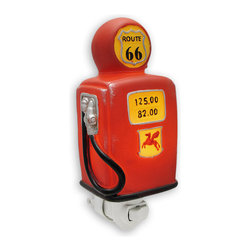 Retro Look Route 66 Gas Pump Night Light - This super cool retro Route 66 gas pump night light makes a wonderful gift for automotive nostalgia. Measuring 7 inches tall, 3 inches wide and 2 1/4 inches deep, the light shines through the base of the pump and shows off the display and Route 66 sign . The night light can be used in any North American power outlet. It uses a 4 LED night light bulb (included).