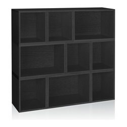 Way Basics - Stackable Oxford Modular Storage, Black - The Oxford Modular Organizer is a unique combination of our Cubes, Cubes Plus and Rectangle Plus. This configuration will stylishly adorn any room as a statement piece, room divider, or bookshelf for your home or office.
