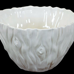 """Benzara - Elegant and Beautiful Ceramic Bowl in White (Large) - Stylish and decorative, the Elegant and Beautiful Ceramic Bowl in White (Large) can be used both as a purely decorative item or as a kitchenware item for serving soups, snacks and broth. This ceramic bowl features an unconventional and uneven design that adds to its appeal. Accents and effects adorn the body of this unique white colored ceramic vase. The dimensions of the Elegant and Beautiful Ceramic Bowl in White (Large) are 13""""x7.5""""H. . Ceramic; White; 13""""x7.5""""H; Dimensions: 0""""L x 13""""W x 8""""H"""