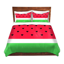DiaNoche Designs - Duvet Cover Microfiber by Organic Saturation - I Love Watermelon - DiaNoche Designs works with artists from around the world to bring unique, artistic products to decorate all aspects of your home.  Super lightweight and extremely soft Premium Microfiber Duvet Cover (only) in sizes Twin, Queen, King.  Shams NOT included.  This duvet is designed to wash upon arrival for maximum softness.   Each duvet starts by looming the fabric and cutting to the size ordered.  The Image is printed and your Duvet Cover is meticulously sewn together with ties in each corner and a hidden zip closure.  All in the USA!!  Poly microfiber top and underside.  Dye Sublimation printing permanently adheres the ink to the material for long life and durability.  Machine Washable cold with light detergent and dry on low.  Product may vary slightly from image.  Shams not included.