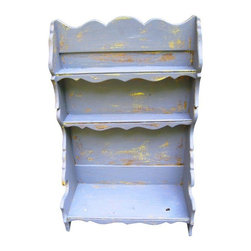 Used Heavily Distressed Mid-Century Table Top Shelf - This shelf would make an incredible addition to your office or craft room. Well sized to organize craft paints, stamps, paper cutting tools, etc. Could also be used to display a collection of small items.