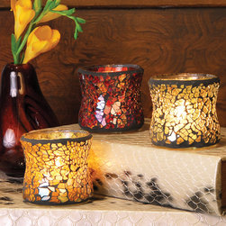 Castile Votive Holders (Set of 3) - Accent any area of your home with our festive and beautifully colored mosaic design glass votive holders. Great for parties, at place settings, for hostess gifts, or to add that quick touch of illumination to any space.