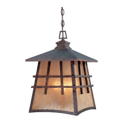 Designers Fountain - Designers Fountain Oak Park Traditional Outdoor Hanging Light X-PM-42703 - Add a classic fixture to your patio with the Oak Park Outdoor hanging Light. The Mission style lantern has strong simple lines, with a pyramid roof in a Mediterranean Patina finish. The Amber Patina shade glows vibrantly when lit.