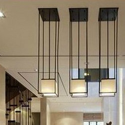 Post Modern Flax Shade and Iron Frame Recessed Lighting -