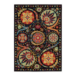Nourison - Nourison Suzani Suz04 Black Area Rug - Give any room a touch of nature with a Nourison Suzani rug. This rug is a contemporary take on the traditional floral patterns. The patterns range from whimsical to distinctive plants and flowers. For example, you can pair this rug with a large planter to create an intriguing wilderness. You can even add the rug to a room with a Queen Anne chair to add a visual appeal into a space. Each of the Suzani area rugs are made with 100 percent hand tufted wool.