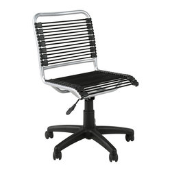 Euro Style - Euro Style Bungie Low Back Office Chair 02546 - Bungie goes hi-tech. Or is it lo-tech? Either way, this is the Bungie made for fun. Any color loops you choose, this one is bound to brighten up an office or a kid's room. Game on.
