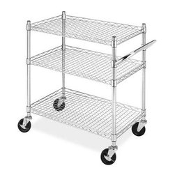 Whitmor - Commercial 3 Tier Cart - Whitmor's supreme 3 tier chrome shelving unit with wheels is ideal for kitchen hobby room closet bedrooms or anywhere you need extra storage. This Supreme unit features a durable chromed steel frame five adjustable shelves and heavy duty wheels. Two of the wheels lock in place for stability. The cart has an overall weight capacity of 250 lbs. evenly distributed.