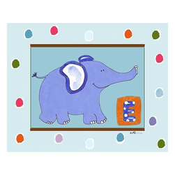 Oh How Cute Kids by Serena Bowman - E is for Elephant in Blue, Ready To Hang Canvas Kid's Wall Decor, 24 X 30 - Each kid is unique in his/her own way, so why shouldn't their wall decor be as well! With our extensive selection of canvas wall art for kids, from princesses to spaceships, from cowboys to traveling girls, we'll help you find that perfect piece for your special one.  Or you can fill the entire room with our imaginative art; every canvas is part of a coordinated series, an easy way to provide a complete and unified look for any room.