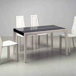 Extravagant Rectangular Wood and Glass Top Leather Modern Dining Set - Chic modern dining set with beige stripes on black glass. Each Chair has a broad, high back which provides support up through your shoulders. The chairs made of high quality beige leather match. Additional 2 chairs are available at a discount price.