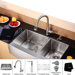 Kraus - Kraus 36 inch Farmhouse Double Bowl Stainless Steel Kitchen Sink with Kitchen Fa - *Add an elegant touch to your kitchen with unique Kraus kitchen combo