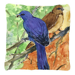Caroline's Treasures - Bird - Indigo Bunting Fabric Decorative Pillow - Indoor or Outdoor pillow made of a heavy weight canvas. Has the feel of Sunbrella fabric. 14 inch x 14 inch 100% Polyester Fabric pillow Sham with pillow form. This pillow is made from our new canvas type fabric can be used Indoor or outdoor. Fade resistant, stain resistant and Machine washable.
