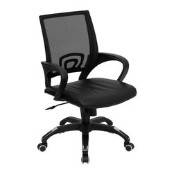 Flash Furniture - Flash Furniture Mid-Back Black Mesh Computer Chair with Black Leather Seat - For a contemporary and stylish mesh computer chair for your home or office there's no need to look any further. This ergonomic task chair with mesh back from flash furniture will provide a comfortable and functional addition to any setting. Featuring a cool mesh back, leather seat, and a designer base, this computer chair will provide all the necessities for a home or office desk chair with a few extra features. [CP-B176A01-BLACK-GG]