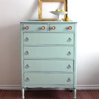 Pale Blue Tallboy Dresser by Poppy Seed Living - Freshen up the deeper, moodier tones of the room with this lovely robin's-egg blue dresser.