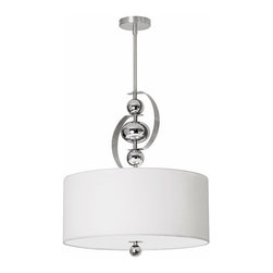 Dainolite - Bolero Satin Chrome Three Light Drum Pendant - - Three Light Drum Pendant  - Adjustable  - Canopy Size: 4.5-Inch Diameter - Rop/Drop/Cable Length: 39-in  - Size: 19-in dia. x H 8-in  - Number of Shade: 1  - Fabric Color: White Linen  - Shade Style: Drum  - Diffuser: Yes  - Diffuser Color: Frosted glass  - Bulbs Not Included - On/Off Switch Type: Hard Wire Dainolite - BOL-193P-SC