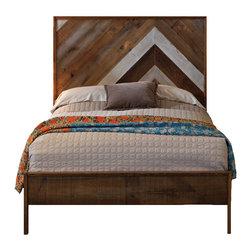 Urban Evolutions - Reclaimed Chevron Bed, King - Originally inspired by our reclaimed Chevron and Herringbone flooring patterns, we've combined our rough and smooth pines into an unconventional Chevron headboard. Reclaimed varnished bleachers narrowly frame the bed and provide a slight nod to seventies.