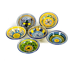 Artistica - Hand Made in Italy - Toscana Olive Oil Dipping & Condiment Bowls, Set of 6 - Get your taste buds going with some fresh hot Italian bread dipped in a good olive oil jazzed with some balsamic vinegar or, parmesan cheese, pepper and thyme - a favorite way to begin a meal in all the best Italian restaurants.