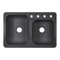 """Lyons Industries - Kitchen Sink, Gourmet Choice Dual Offset Bowl 8.5"""" Deep Acrylic, Metallic Silver - Lyons Industries Gourmet Choice Metallic Silver acrylic Self-rimming kitchen sink with two sink bowls. This 33""""X22"""" sink has an attractive functional design, with a larger 8.5"""" deep left bowl for handling larger pans and a 8.5"""" deep smaller right bowl. This sturdy sink has durable easy to clean high gloss acrylic construction with a fiberglass reinforced insulation backer. This sink is quiet and provides a superior heat retention than other sink materials meaning your dish water stays warm longer. Lyons sinks come with a simple mounting tab and clip system to firmly fasten the sink to the countertop and reinforced drain areas for safely supporting a garbage disposal. Detailed installation instructions include the cut-out specifications. Lyons sinks are proudly made in America by experienced artisans supporting our economy."""